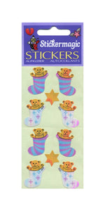 Pack of Pearlie Stickers - Bear In Stocking