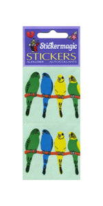 Pack of Paper Stickers - Budgies On Perch
