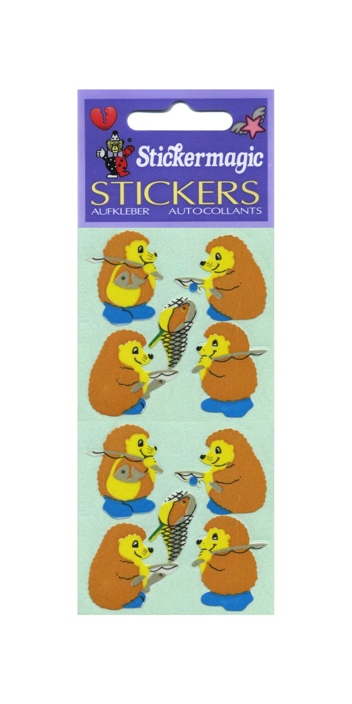 Pack of Paper Stickers - Fishing Hedgehogs