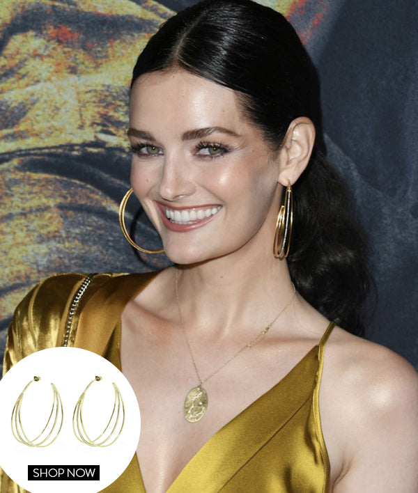 LYDIA HEARST IN OUR PAVE TRINITY HOOPS