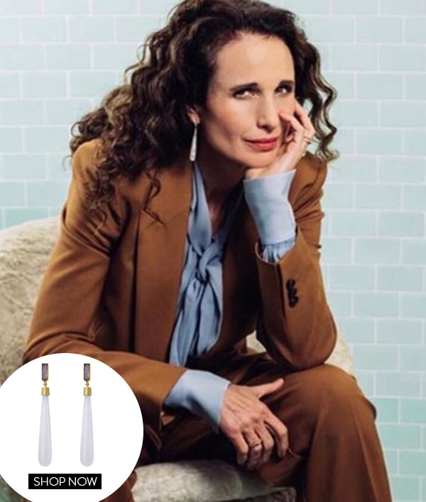 ANDIE MACDOWELL IN OUR REIGN DROP EARRINGS