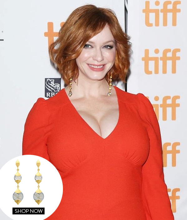 CHRISTINA HENDRICKS IN OUR LONG CASABLANCA EARRINGS