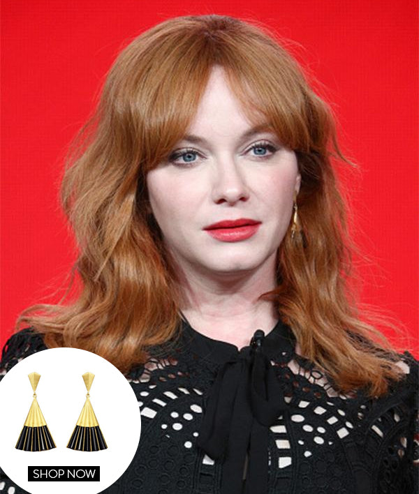 Christina Hendricks in our Fan Earrings