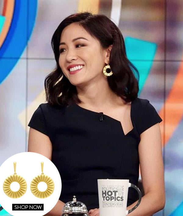 CONSTANCE WU IN OUR MOSAIC EARRINGS