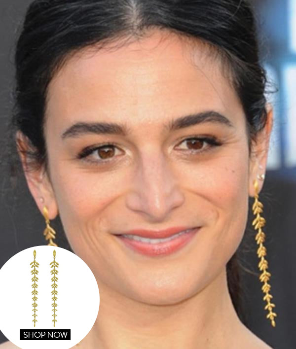 Jenny Slate in our Leaf Drop Earrings