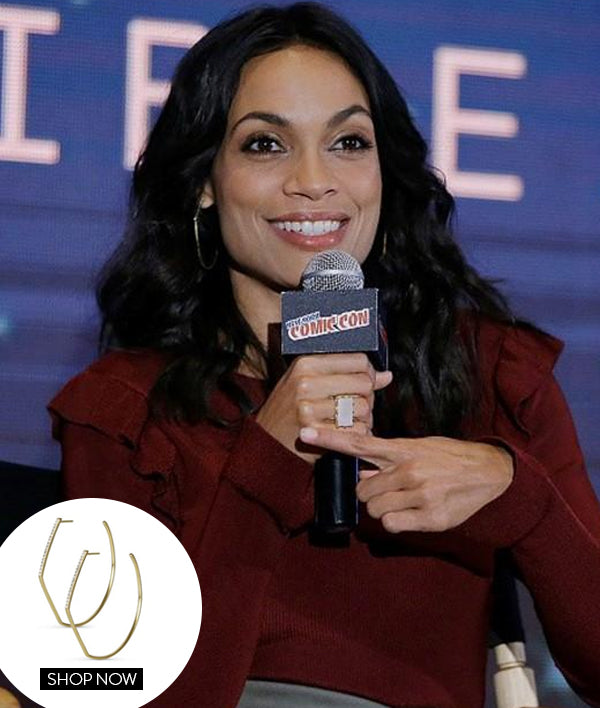 Rosario Dawson in our Castle Ring and Spire Hoops