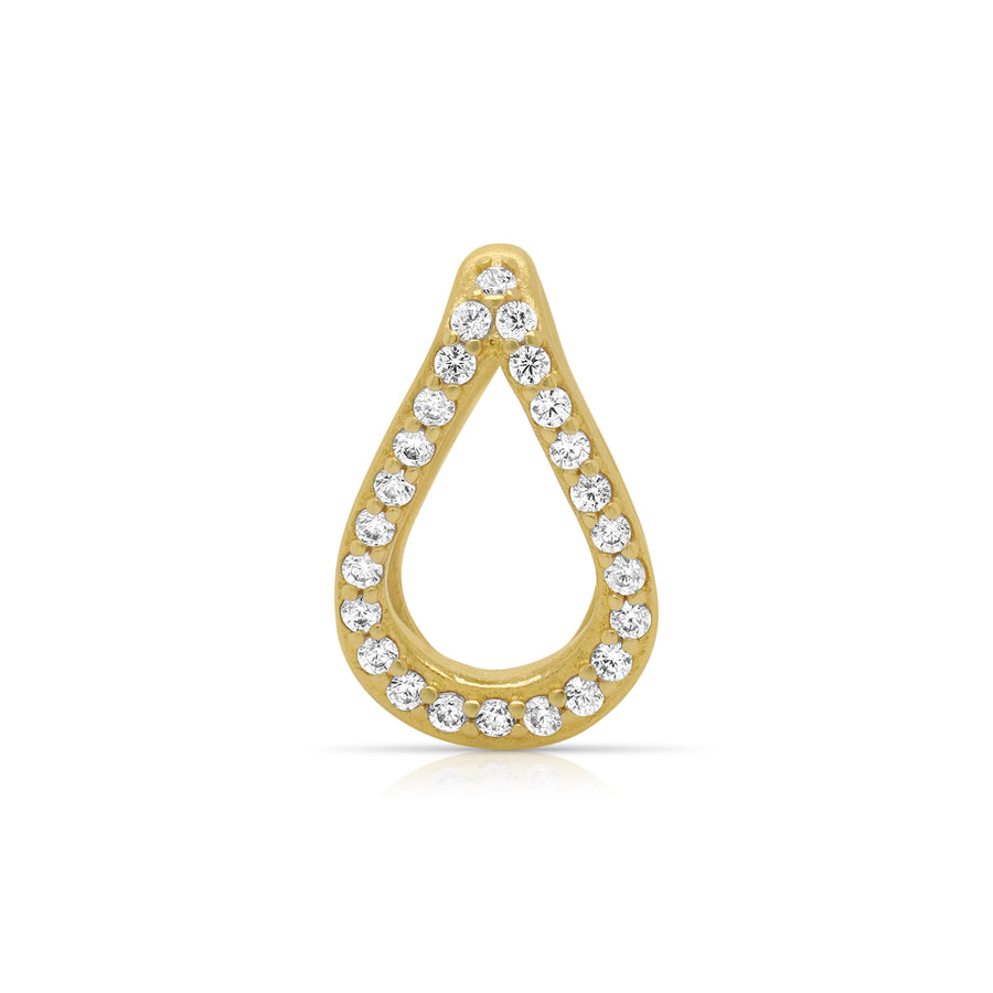 DEAN DAVIDSON JEWELRY SIGNATURE TEARDROP PAVE CHARM GOLD WHITE TOPAZ