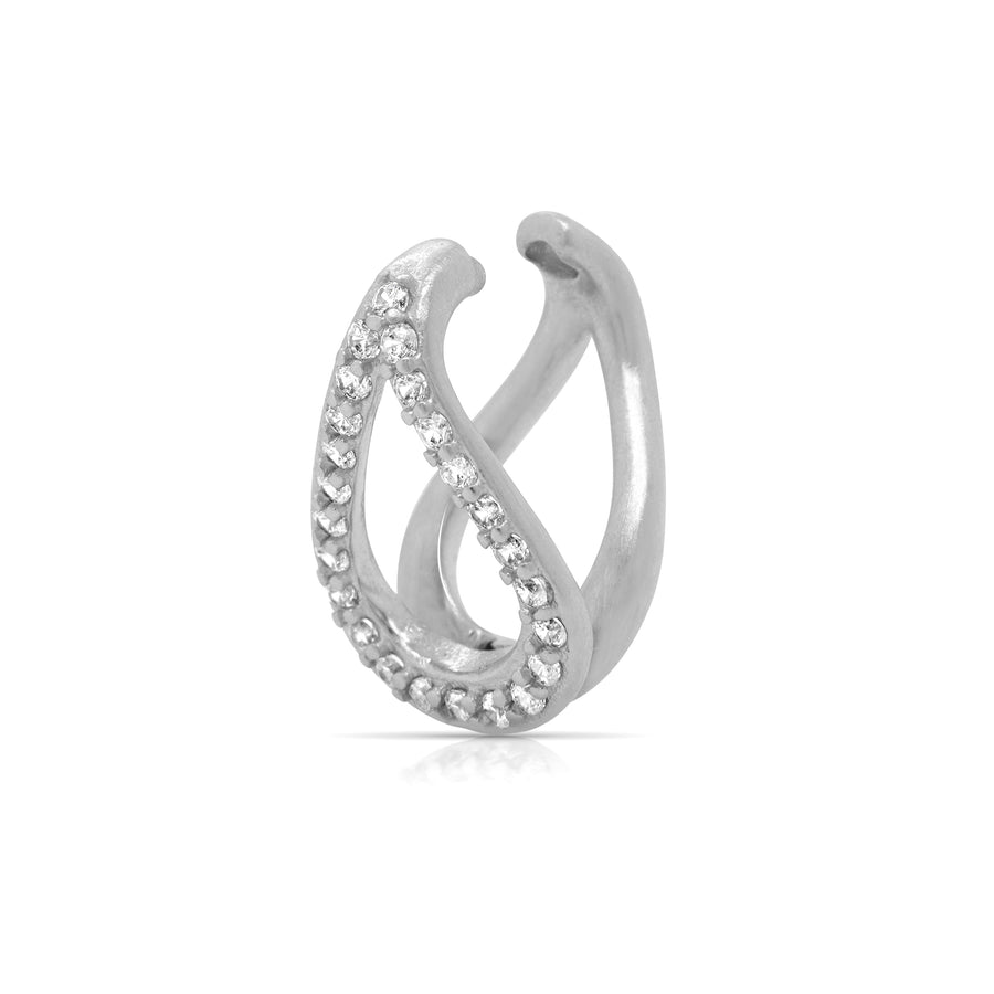 DEAN DAVIDSON JEWELRY SIGNATURE TEARDROP PAVE CHARM SILVER WHITE TOPAZ
