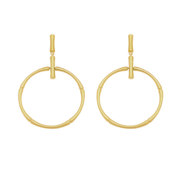 DEAN DAVIDSON BAMBOO FRONTAL HOOP DROP EARRINGS GOLD