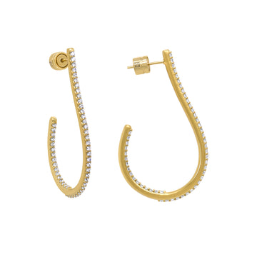 DEAN DAVIDSON JEWELRY SIGNATURE TEARDROP PAVE HOOP EARRINGS GOLD WHITE TOPAZ