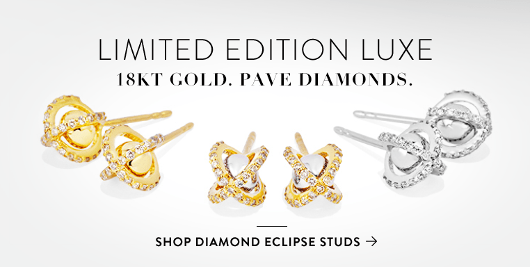 Limited Edition Luxe 18kt gold. Pave diamonds. Shop Diamond Eclipse Studs >