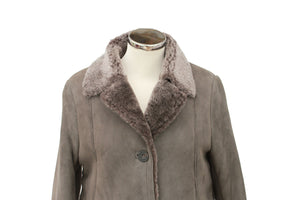 Women's Button Fastening Suede Leather Sheepskin Jacket in Vizon Grey