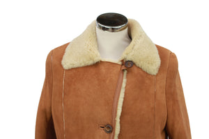 Women's Button Fastening Suede Leather Sheepskin Jacket in Tan