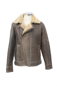 Men's Classic Cross Zip Sheepskin Jacket in Country Forest Distressed