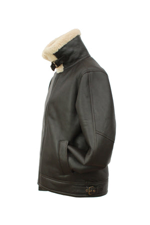 Men's Classic Cross Zip Sheepskin Jacket in Dark Brown Nappa