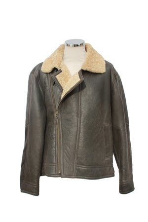 Men's Classic Cross Zip Sheepskin Jacket in Dark Brown