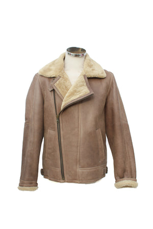 Men's Classic Cross Zip Sheepskin Jacket in Nutmeg
