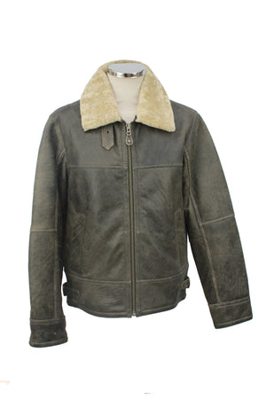 Men's Classic Centre Zip Sheepskin Jacket in Anthracite