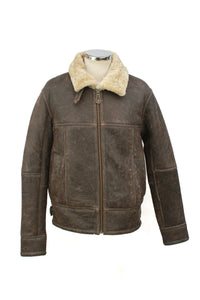 Men's Classic Centre Zip Sheepskin Jacket in Country Forest Distressed
