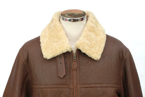 Men's Classic Centre Zip Sheepskin Jacket in Cognac