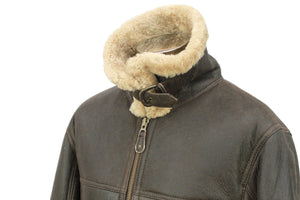 Men's Classic Centre Zip Sheepskin Jacket in Dark Brown Distressed