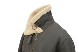 Men's Classic Centre Zip Sheepskin Jacket in Dark Brown Forest