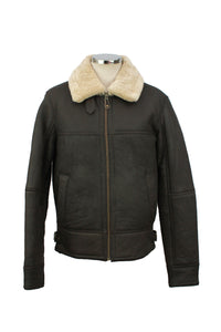 Men's Classic Centre Zip Sheepskin Jacket in Dark Brown Nappa