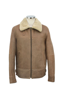Men's Classic Centre Zip Sheepskin Jacket in Nutmeg