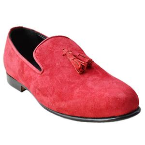 ELETE Handmad Red Color Casual Suede Loafers