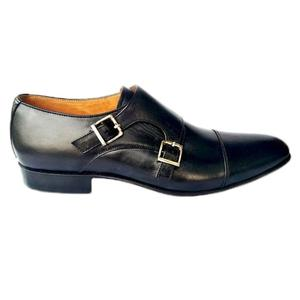 ELETE Hand Made Double Monk Black Leather Shoes