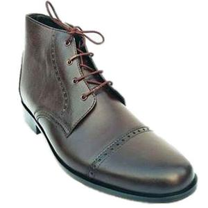 ELETE Handmade Brown Leather Men Chukka Boots