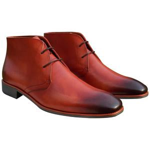 ELETE Handmade Brook Style Red Suede Chukka Boots
