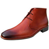 ELETE Handmade Redish Brown Leather Men Chukka Boots