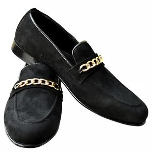 ELETE Black Suede Chain Loafers