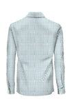 Patterned Diamond Blue Athlete-Cut Dress Shirt