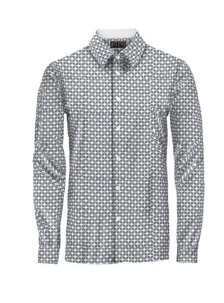 Patterned Gray and White Athlete-Cut Dress Shirt