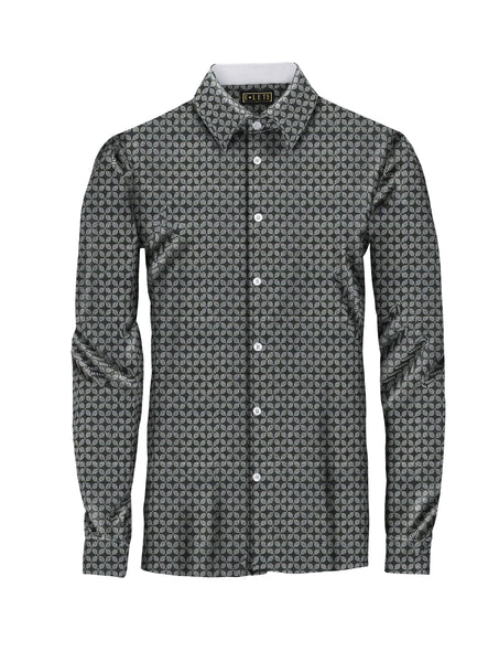 Patterned Black and White Athlete-Cut Dress Shirt