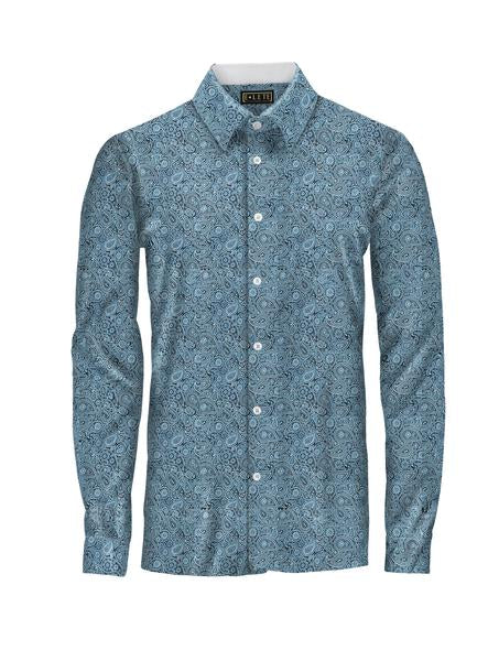 Patterned Blue Athlete-Cut Dress Shirt
