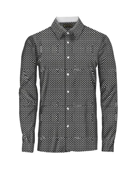 Patterned Black Athlete-Cut Dress Shirt