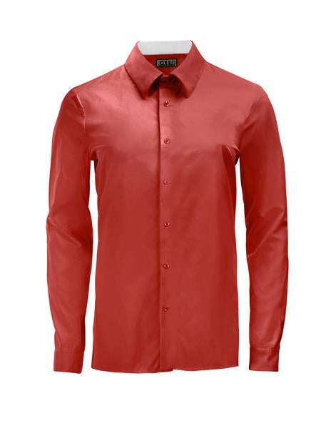 Red Athlete-Cut Dress Shirt