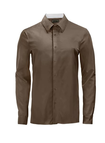 Brown Athlete-Cut Dress Shirt