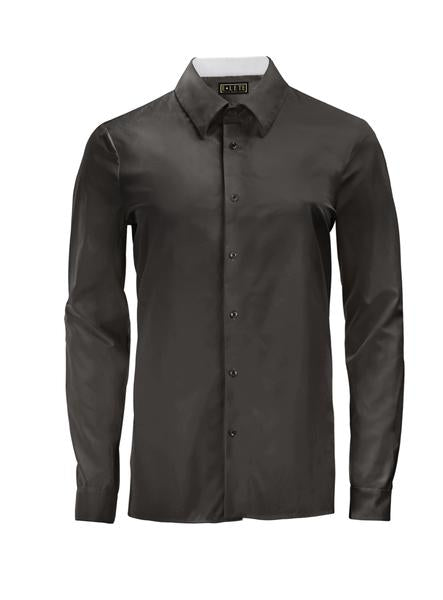 Black Athlete-Cut Dress Shirt