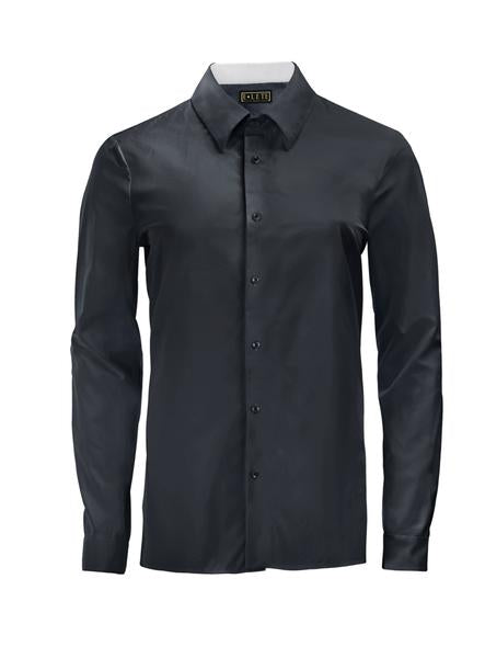 Jet Black Athlete-Cut Dress Shirt