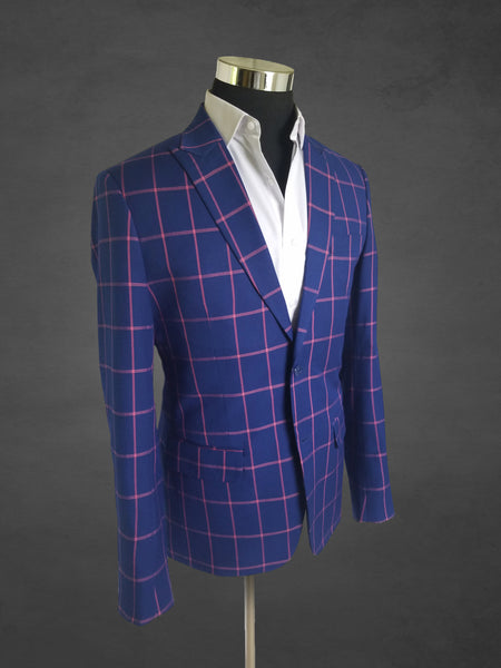 Pink Striped Blue Suit