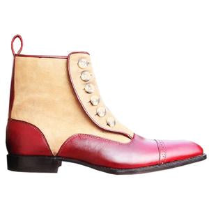 ELETE Handmade Red Button Ankle Boots