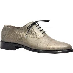 ELETE  Handmade Gray Ostrich Leather Oxfords