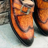ELETE Handcrafted Patina Monkstrap Loafers