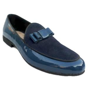 ELETE Patent Leather Handmade Blue Loafers
