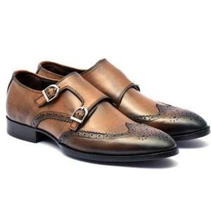 ELETE Hand Made Double Monk Strap Golden Brown Shoes