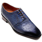 ELETE Oxfords in original Blue ostrich leather